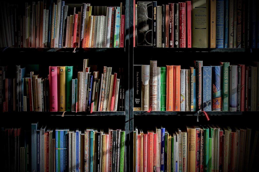 Estante de livros com luz do sol